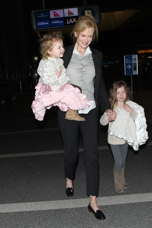 Nicole Kidman has her hands full at LAX