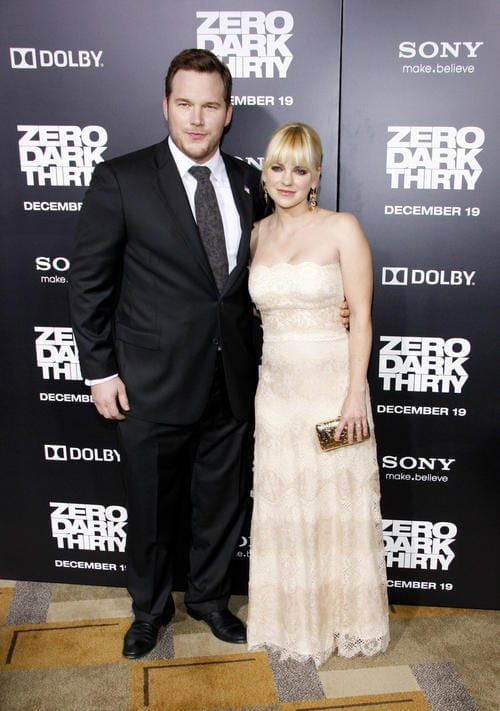 Anna Faris and Chris Pratt at the Los Angeles premiere of 'Zero Dark Thirty'