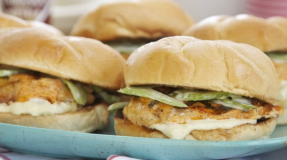 Buffalo Grilled Chicken Sandwiches with Celery Slaw